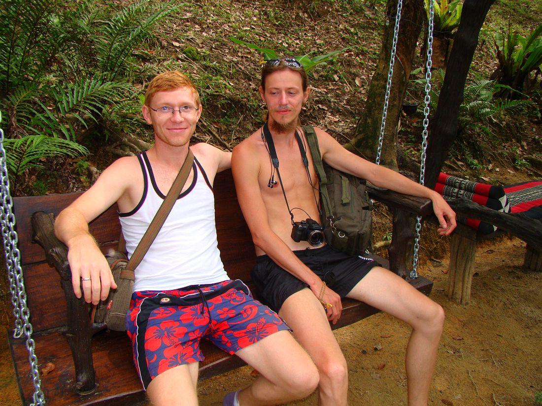 Мы с Сергеем в беседке Fishing Park