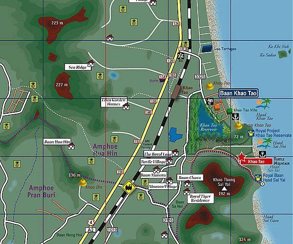 Карта пляжей Хуа Хина | Зима в Таиланде