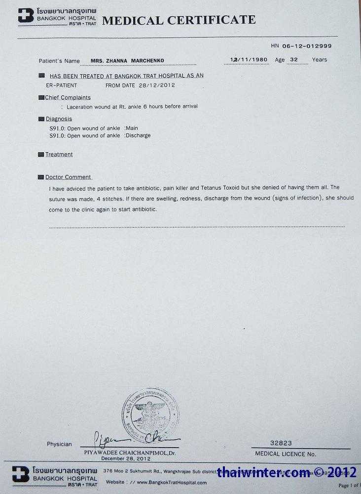 Mediacal Certificate - Диагноз и комментарии доктора
