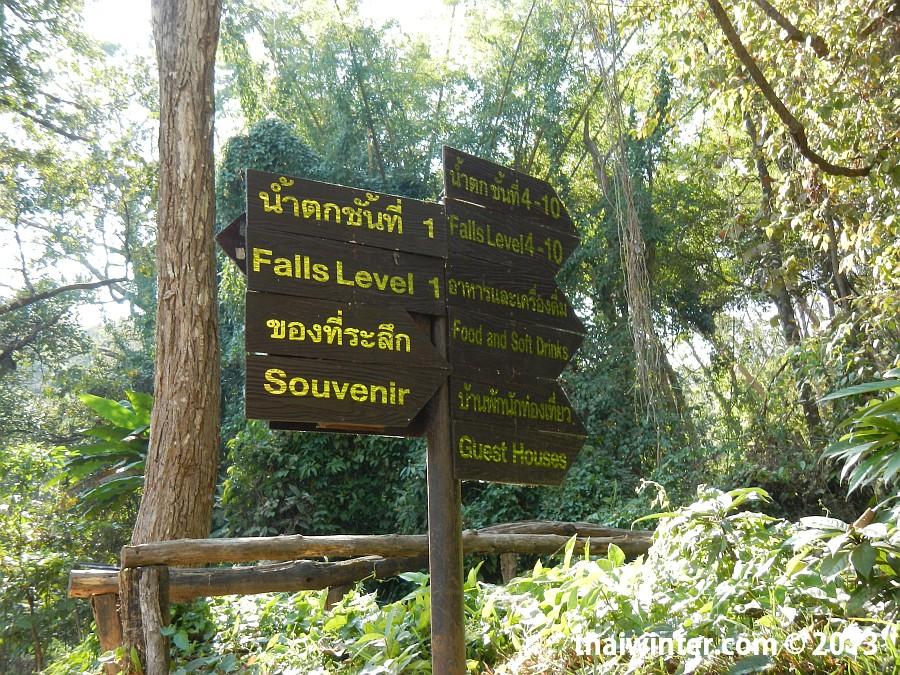 Указатели на водопаде Mae Sa