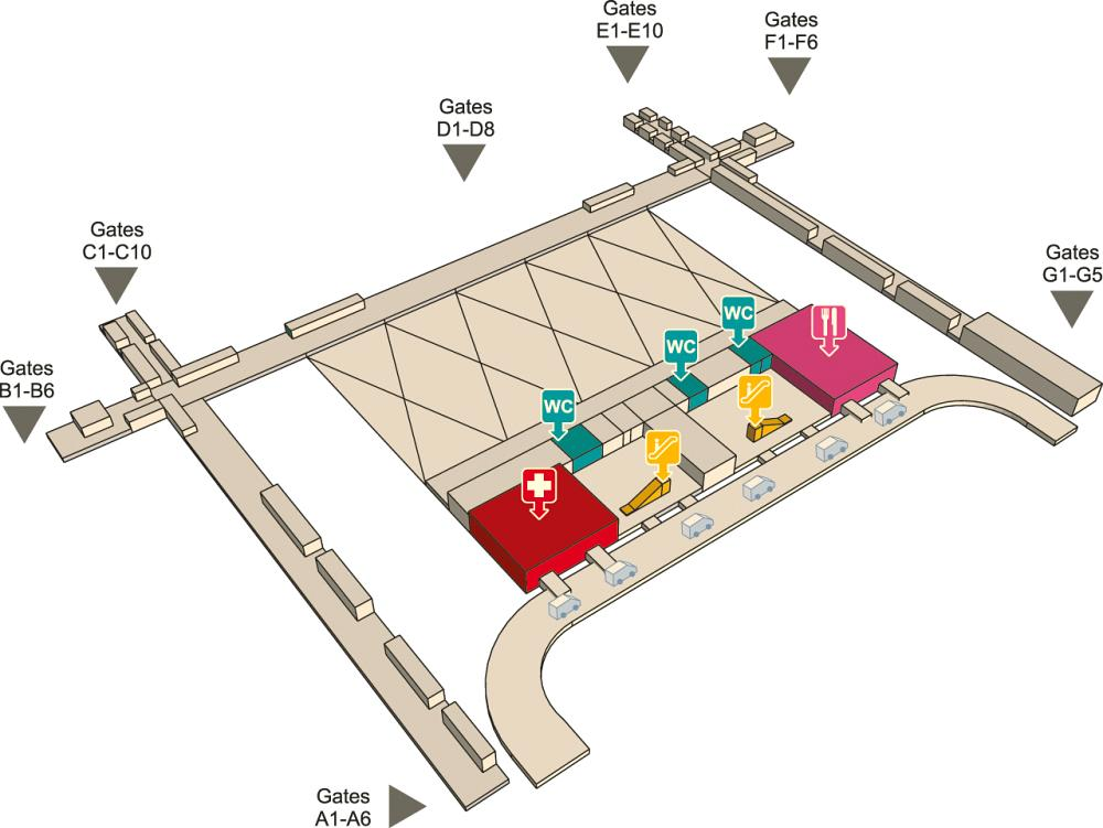Первый этаж аэропорта Суварнабхуми в Бангкоке