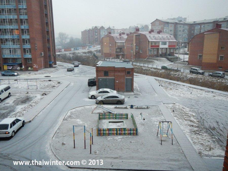 Начало снегопада в Красноярске