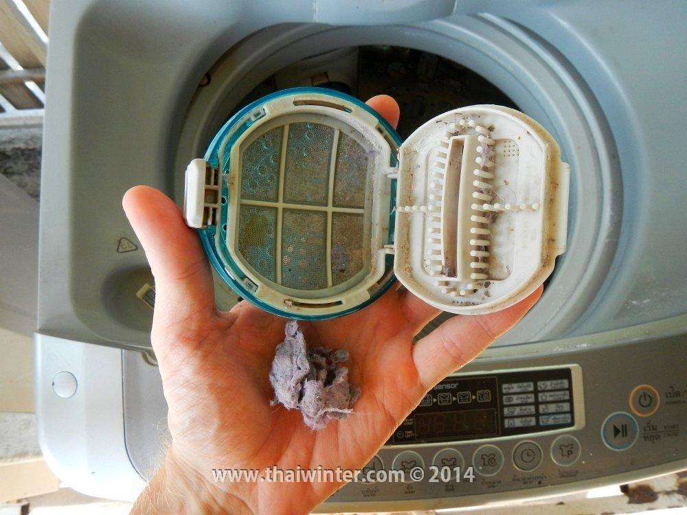 Мусор в фильтрах стиральных машин в Таиланде