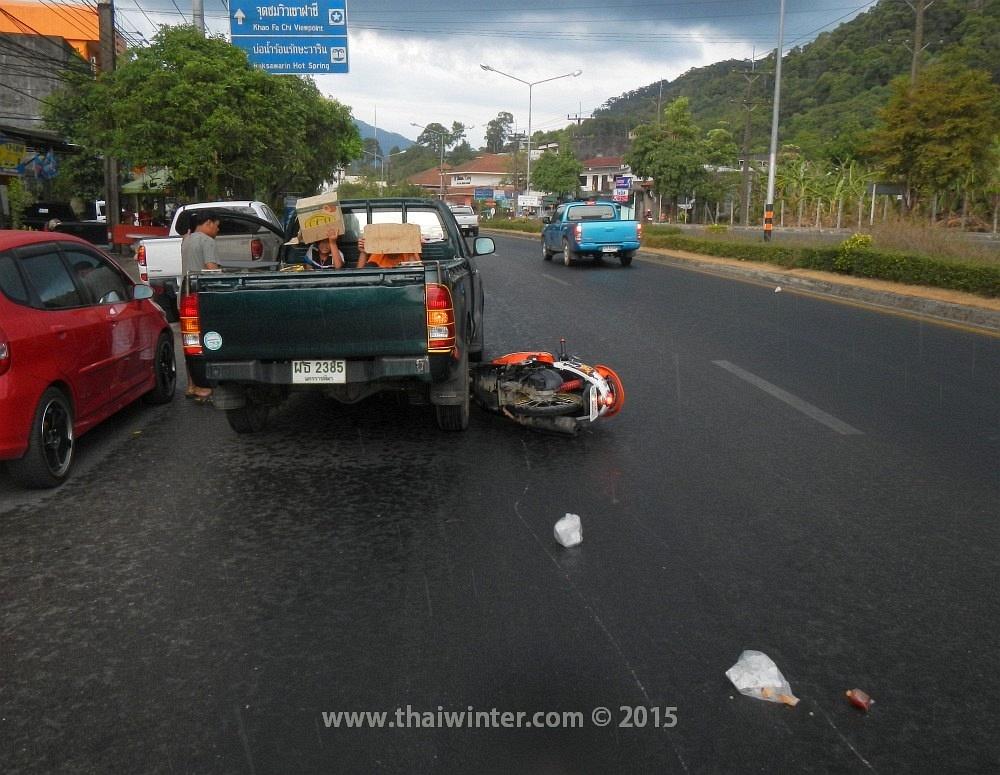 Авария в Ранонге на мокром асфальте