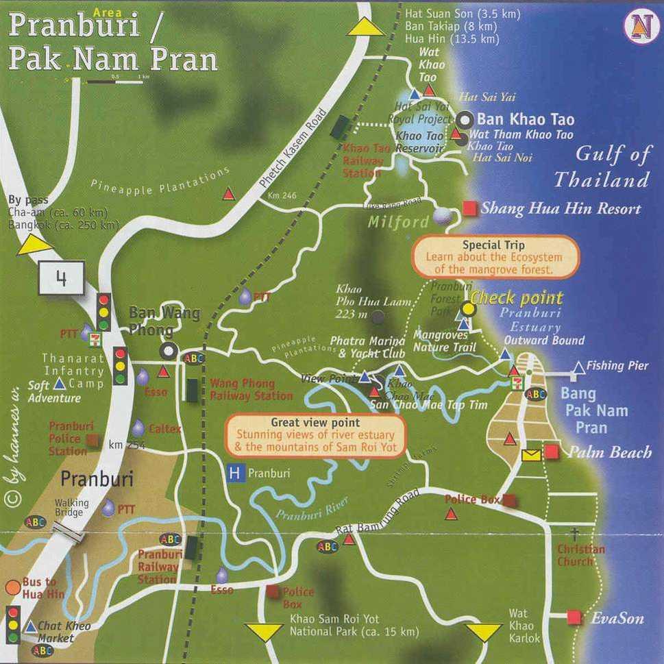 Карта Пранбури и юга Хуахина