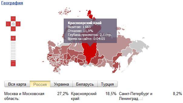 География посещений блога