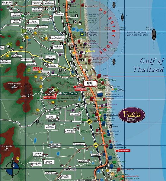 Подробная карта Хуахина